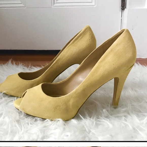 0d967f152ea0 Aldo Shoes - ALDO yellow suede peep toe heels.